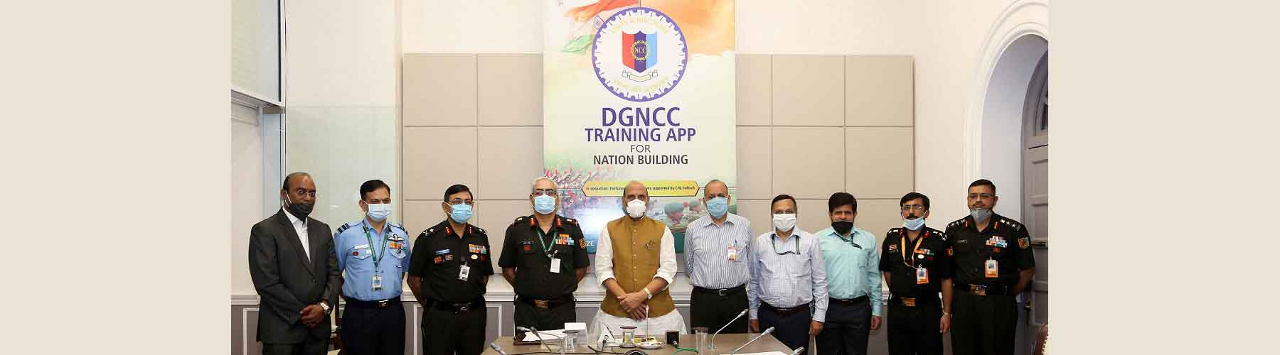 Raksha Mantri Shri Rajnath Singh launched the Directorate General National Cadet Corps (DGNCC) Mobile Training App for online training of NCC cadets, in New Delhi on Thursday, August 27, 2020