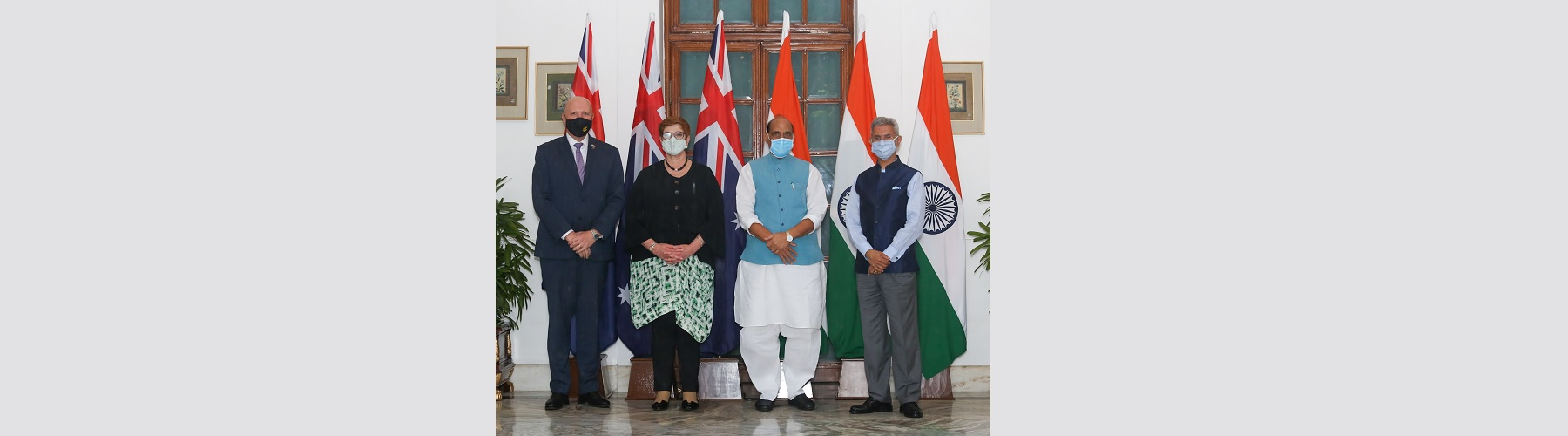Raksha Mantri Shri Rajnath Singh and External Affairs Minister Dr S Jaishankar with Minister for Defence of Australia Mr Peter Dutton and Minister for Foreign Affairs of Australia Ms Marise Payne before the inaugural 2 plus 2 Ministerial level meeting bet