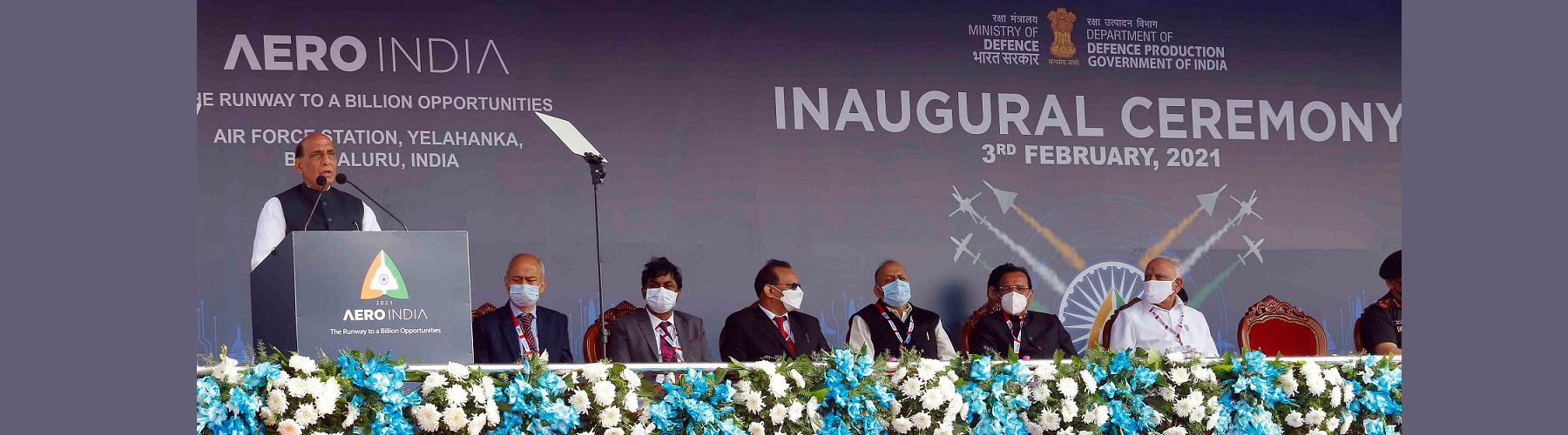 Raksha Mantri Shri Rajnath Singh addressing the biennial air show, Aero India 2021 at the Air Force Station, Yelahanka in Bengaluru on Wednesday, February 03, 2021