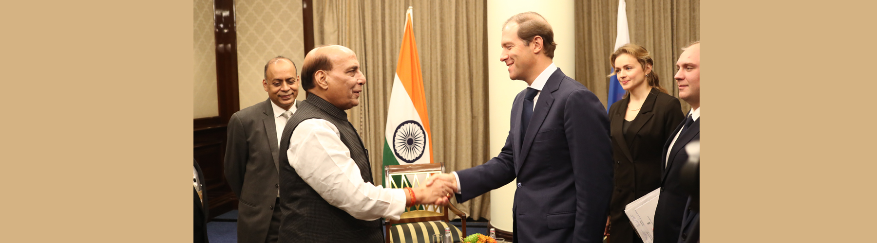 Raksha Mantri Shri Rajnath Singh meeting with Russian Minister of Trade and Industry Mr Dennis Manturov in Moscow on Tuesday, November 05, 2019.