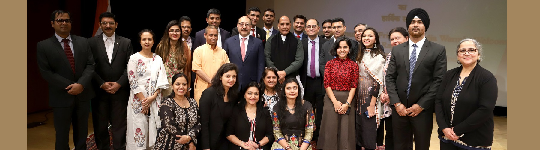 Raksha Mantri Shri Rajnath Singh with the Indian community during a reception organised by Consulate General of India in New York on Tuesday, December 17, 2019