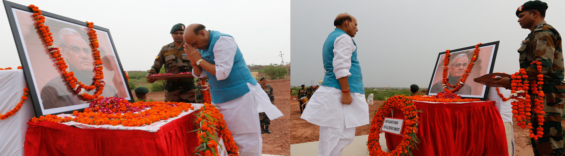 Raksha Mantri Shri Rajnath Singh paying homage at Pokhran to former Prime Minister Shri Atal Behari Vajpayee on his first death anniversary on Friday, August 16, 2019. India had conducted nuclear tests in 1998 at Pokhran under the leadership of Shri Vajpa