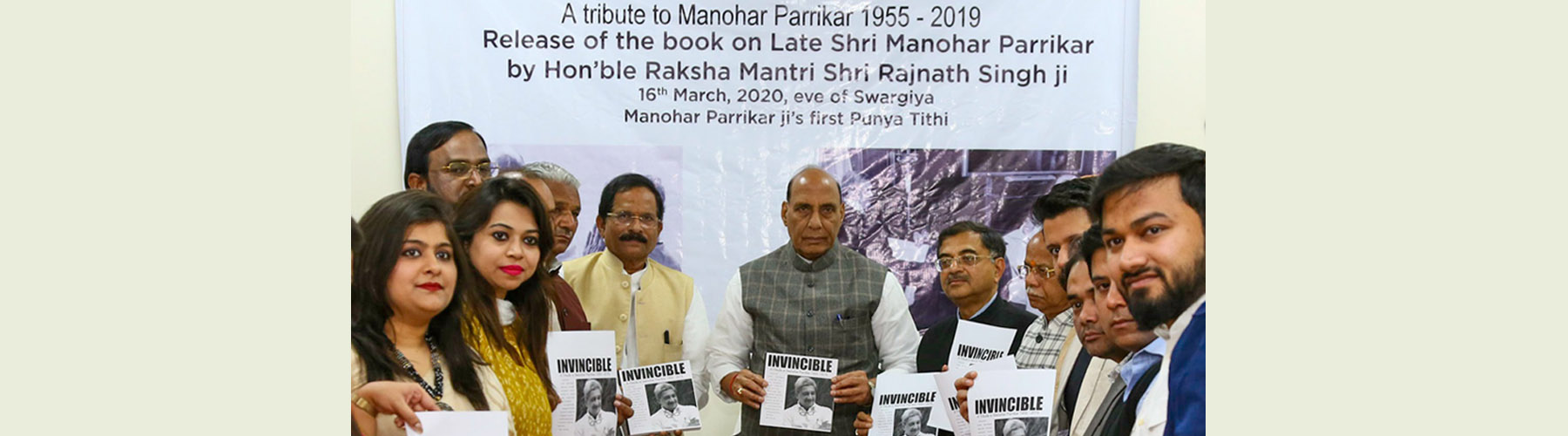 Raksha Mantri Shri Rajnath Singh releasing a book on former Defence Minister late Manohar Parrikar in New Delhi on Monday, March 16, 2020. Also seen is Raksha Rajya Mantri Shri Shripad Naik