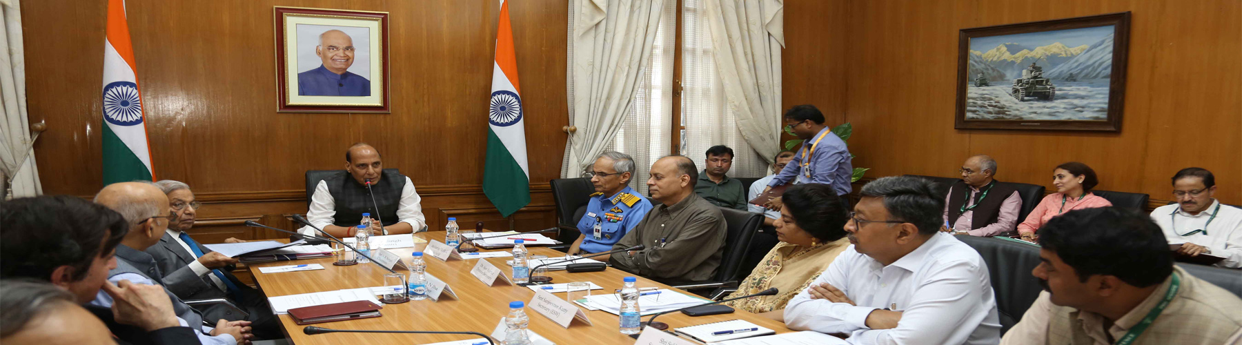 Raksha Mantri Shri Rajnath Singh chairing the meeting of 15th Finance Commission with senior officials of Ministry of Defence in New Delhi on August 30, 2019