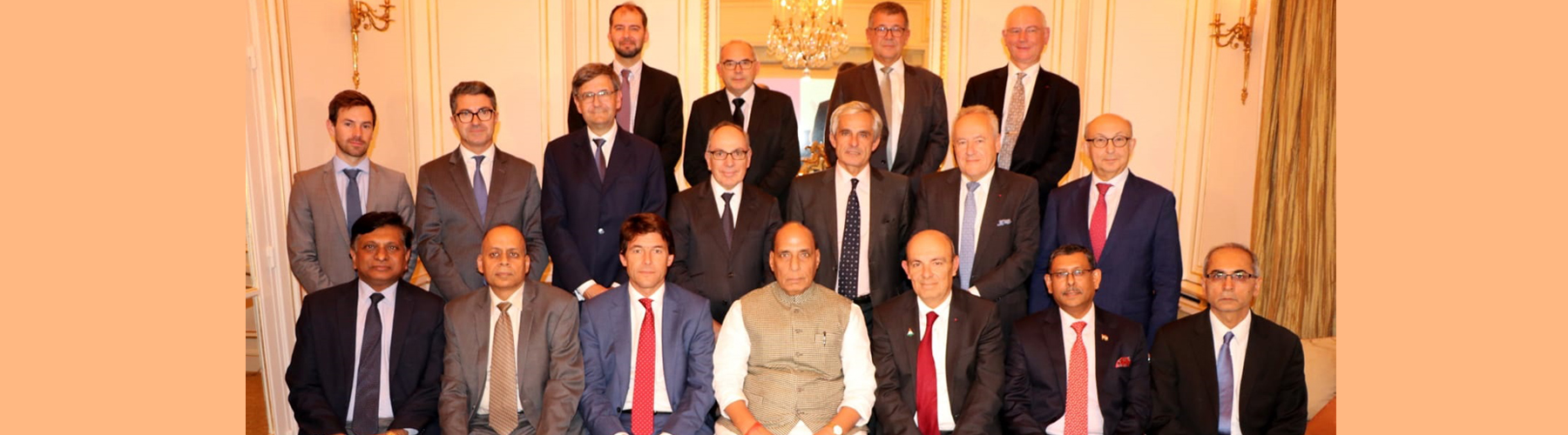 Raksha Mantri Shri Rajnath Singh with the CEOs of French Defence Industries in Paris on October 09, 2019. Also seen in the picture are Defence Secretary Dr Ajay Kumar and Ambassador of India to France Shri Vinay Mohan Kwatra