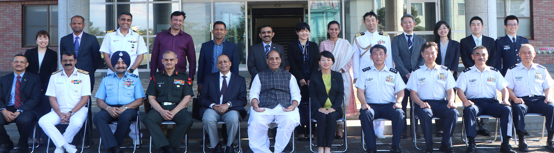 Raksha Mantri Shri Rajnath Singh in a group photo with the Indian delegation and Japanese Air Force officials at Hamamatsu Airbase in Japan on Tuesday, September 3, 2019.Also seen in the picture is Defence Secretary Dr Ajay Kumar