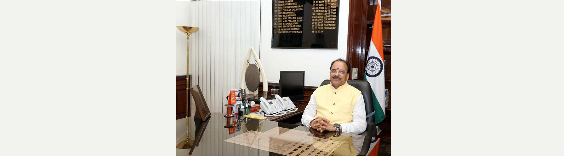 Shri Ajay Bhatt takes charge as the Minister of State for Defence, in New Delhi on July 08, 2021