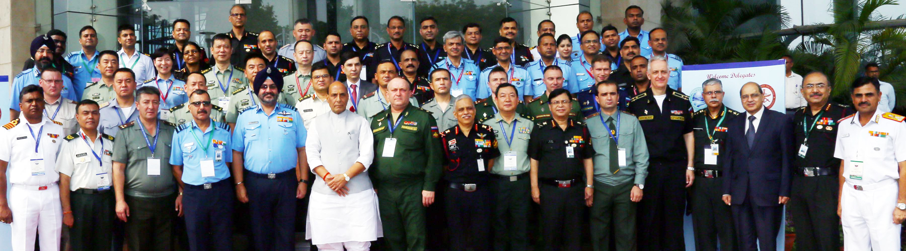 Raksha Mantri Shri Rajnath Singh in group photo with foreign delegates and senior defence officials at the 1st Military Medicine Conference of Shanghai Co-operation Organisation countries in New Delhi on September 12, 2019