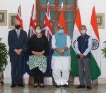 Raksha Mantri Shri Rajnath Singh and External Affairs Minister Dr S Jaishankar with Minister for Defence of Australia Mr Peter Dutton and Minister for Foreign Affairs of Australia Ms Marise Payne before the inaugural 2 plus 2 Ministerial level meeting between India and Australia in New Delhi on September 11 2021
