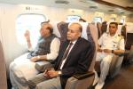 Raksha Mantri Shri Rajnath Singh in Shinkansen Bullet Trainon his way to Hamamatsu Air Base from Shin-Yokohama Railway Station,in Japan on Tuesday, September 3, 2019.Also seen in the picture is Defence Secretary Dr Ajay Kumar.