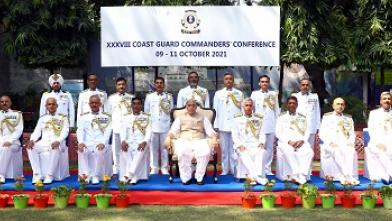 Raksha Mantri Rajnath Singh in group photo with participants of the 38thCoast Guard Commanders Conference in New Delhi on October 09 2021