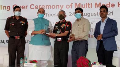 Raksha Mantri Shri Rajnath Singh being handed over the scale replica of Multi-Mode Hand Grenade in Nagpur, Maharashtra on August 24, 2021