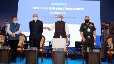 Raksha Mantri Shri Rajnath Singh launching iDEX Grant & Product Management Dashboard at -Start Up Manthan 2021, during Aero India 2021 in Bengaluru on Friday, February 05, 2021.