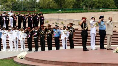 President Shri Ram Nath Kovind along with Raksha Mantri Shri Rajnath Singh and Three Service Chiefs, General Bipin Rawat, Admiral Karambir Singh, Air Chief Marshal Birender Singh Dhanoa  on 73rd Independence Day at National War Memorial in New Delhi on August 15, 2019.