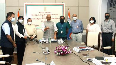 Raksha Mantri Shri Rajnath Singh launching an AI-powered grievance management application, developed by IIT-Kanpur, in New Delhi on July 15, 2021