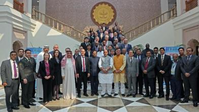 Raksha Mantri Shri Rajnath Singh with with Ambassadors, Heads of Mission and Defence Attaches at Ambassadors Round Table Conference on DefExpo 2020 in New Delhi on Monday, November 04, 2019