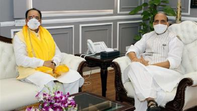 The Minister of State for Defence, Shri Ajay Bhatt calling on the Union Minister for Defence, Shri Rajnath Singh, in New Delhi on July 08, 2021