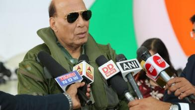 Raksha Mantri Shri Rajnath Singh briefing the media after flying a sortie in the newly inducted Rafale aircraft in France on October 8, 2019.