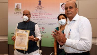 Raksha Mantri Shri Rajnath Singh launching insurance scheme to benefit 10,000 workers in Cantonments in New Delhi on Tuesday, August 25, 2020