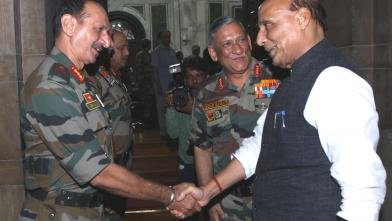 Raksha Mantri Shri Rajnath Singh meeting Army Commanders at the Army Commanders Conference in New Delhi on Friday, October 18, 2019. Also seen is Chief of the Army Staff General Bipin Rawat