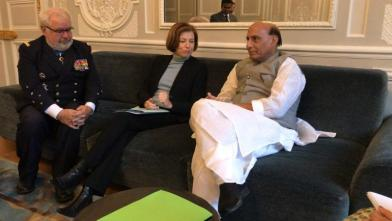 Raksha Mantri Shri Rajnath Singh with the French Minister of Armed Forces, Ms Florence Parly before his meeting with the President of France in Paris on October 08, 2019. Also seen in the picture is Defence Advisor to the President of France, Admiral Bernard Rogel.