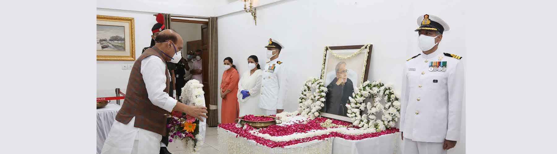 Raksha Mantri Shri Rajnath Singh paying his last respects to former President Pranab Mukherjee in New Delhi on Tuesday, September 1, 2020